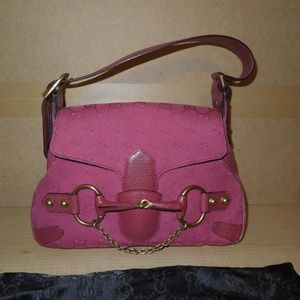 Gucci Pink Horsebit Shoulder Bag Purse